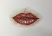 Malen Sie die Lippen: Video-Tutorial in Aquarell